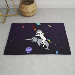 Unicorn Riding Narwhal In Space Rug