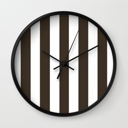 Cola brown - solid color - white vertical lines pattern Wall Clock