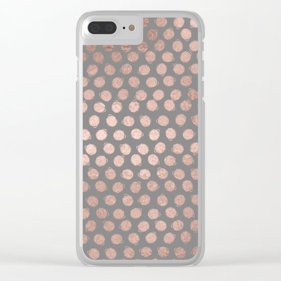 Handpainted Rosegold polkadots on grey background Clear iPhone Case