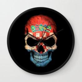Dark Skull with Flag of Croatia Wall Clock