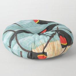 Red Winged Blackbirds in Marsh Floor Pillow