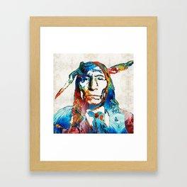 Native American Art - Warrior - By Sharon Cummings Framed Art Print