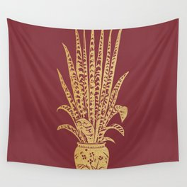Gold sansevieria on red dahlia Wall Tapestry