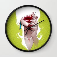 vampire Wall Clocks featuring Vampire by Kimball Gray