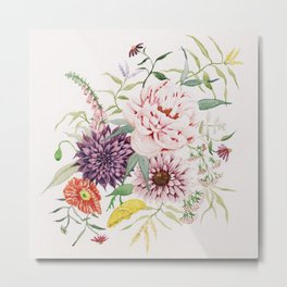 Dahlia, Foxglove, and Poppies Metal Print