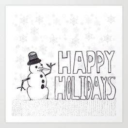 Snowman (Happy Holidays) Art Print
