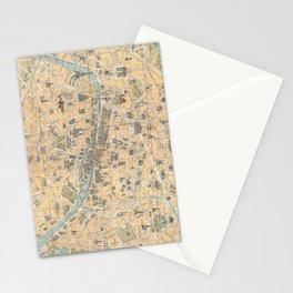 Vintage Map of Paris France (1890) Stationery Cards