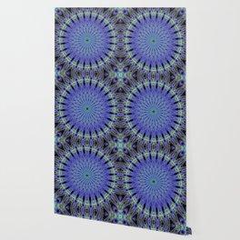 Mandala in neon blue and green Wallpaper