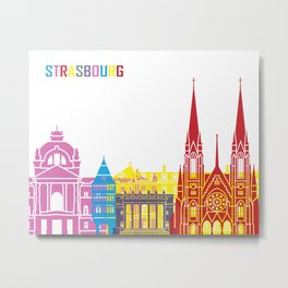 Strasbourg skyline pop Metal Print