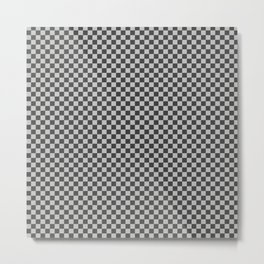 Black and White Checkerboard Carbon Fiber Pattern Metal Print