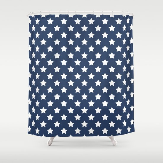 White Stars On A Blue Background Shower Curtain By Artdeco Society6