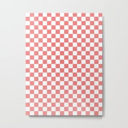 White and Coral Pink Checkerboard Metal Print