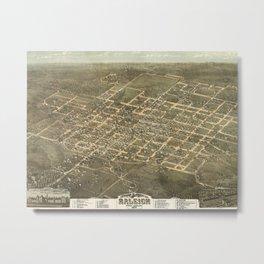 Vintage Pictorial Map of Raleigh NC (1872) Metal Print