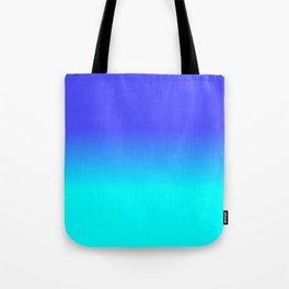 Neon Blue and Bright Neon Aqua Ombré Shade Color Fade Tote Bag