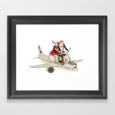 Cat and Wolf hit the road Framed Art Print