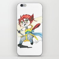 magic the gathering iPhone & iPod Skins featuring Magic the Gathering Brimaz Cat Warrior Token by Deadlance