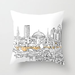 Modern and old Istanbul panorama drawing Throw Pillow