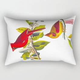 Cardinal Vintage Bird Illustration Rectangular Pillow