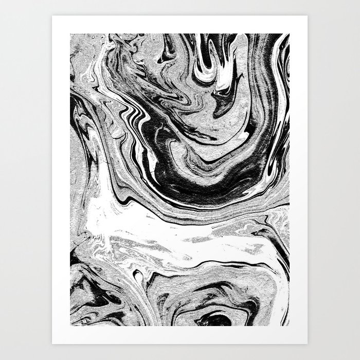Masuki Black And White Minimal Spilled Ink Marbled Paper Marble Texture Marbling Marble Painting Art Print By Spilledink