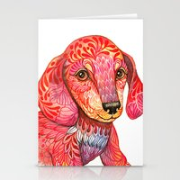 mini Stationery Cards featuring Mini Dachshund  by Ola Liola