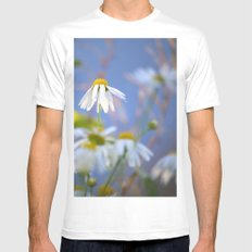 Daisies on a sunny summer day with blue sky Mens Fitted Tee MEDIUM White