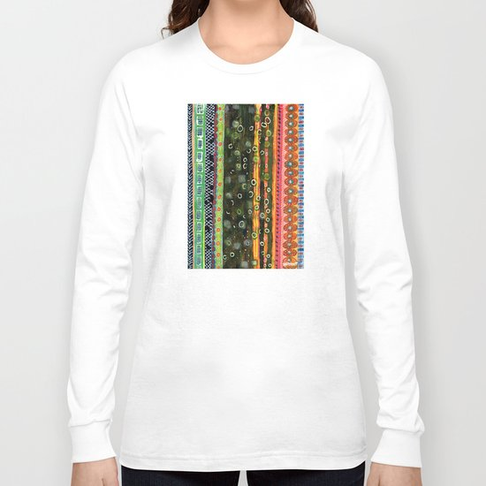 Absorbed Rings with Vertical Stripes Pattern Long Sleeve T-shirt