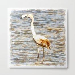 Pretty Flamingo Fledgling Watercolor Metal Print