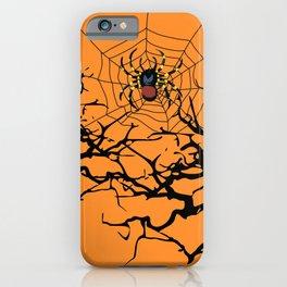 Halloween trees and spiderweb between - orange background iPhone Case