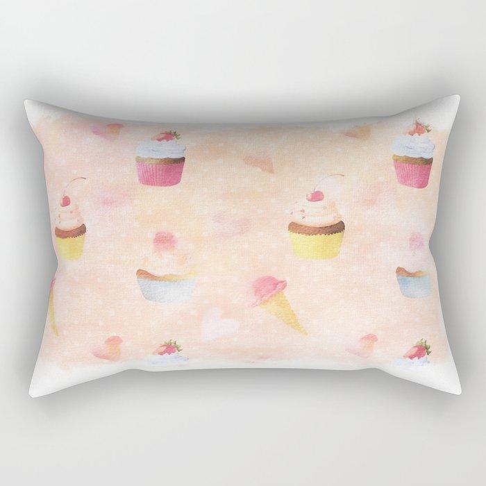 Happy summer- lovely vintage cake summer pattern Rectangular Pillow