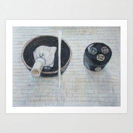 japanese tea bowl and tea caddy Art Print