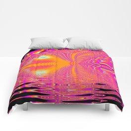 Magenta Boardwalk Carnival, Abstract Ocean Shimmer Comforters