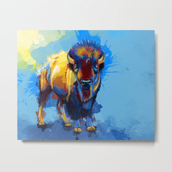 On the Plains - Bison painting Metal Print