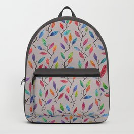 Leafy Twigs - Multicolored on Gray Backpack