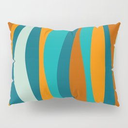 Liquid Stripes in Rust Orange Aqua Turquoise Teal  Pillow Sham