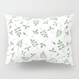 Green Leaves Design on White Pillow Sham
