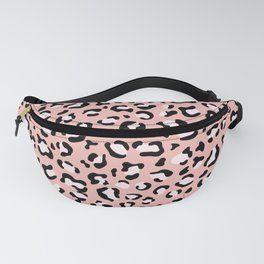 Animal Print, Spotted Leopard - Pink Black Fanny Pack