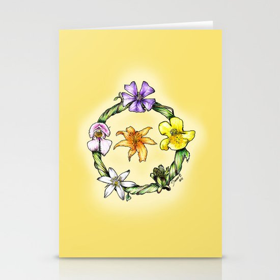 Garland of flowers Stationery Cards