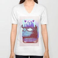 writer V-neck T-shirts featuring Grizzly writer by RedGoat