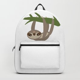 Three-toed sloth on green branch on white background Backpack