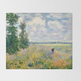 Poppy Fields near Argenteuil by Claude Monet Throw Blanket