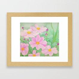 Watercolor Japanese Anemones Framed Art Print