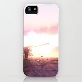 Battle scene with Artillery guns. iPhone Case