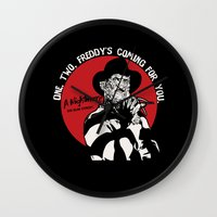freddy krueger Wall Clocks featuring Freddy K quote v2 by Buby87