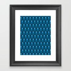 Blue vintage feather pattern  Framed Art Print