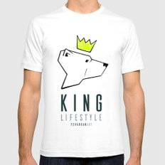 King LifeStyle White Mens Fitted Tee SMALL