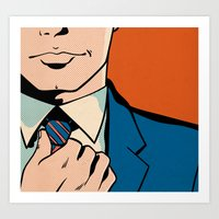 Untitled (Man Adjusting Tie) Art Print
