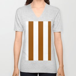 Wide Vertical Stripes - White and Brown Unisex V-Neck