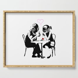 Banksy Diving in Love, Deep Divers Loving Artwork, for Wall Art, Prints, Posters, Tshirts, Men, Wome Serving Tray