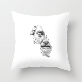 MARCUS AURELIUS ANTONINUS AUGUSTUS / black / white Throw Pillow