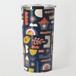 Kids Birds And Rainbows Scandinavian Design Travel Mug